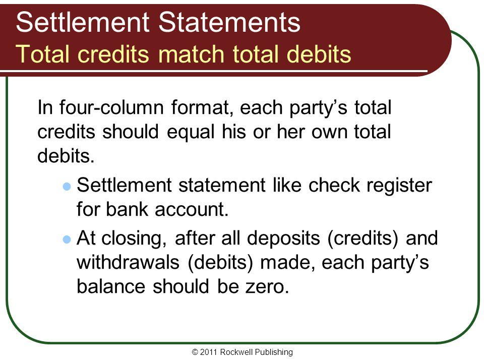 Settlement Statements Total credits match total debits