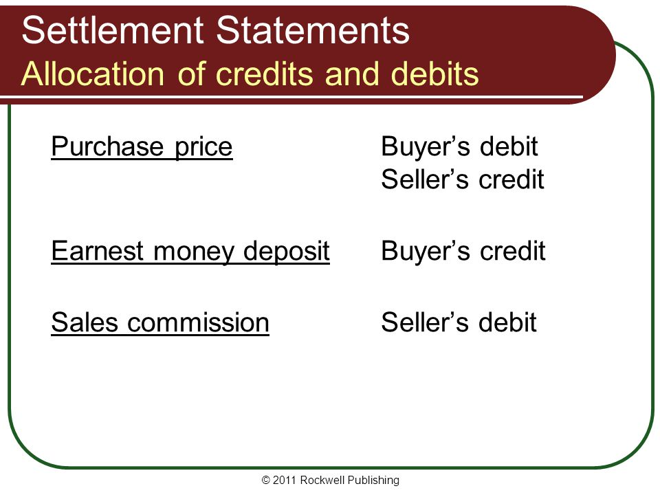 Settlement Statements Allocation of credits and debits