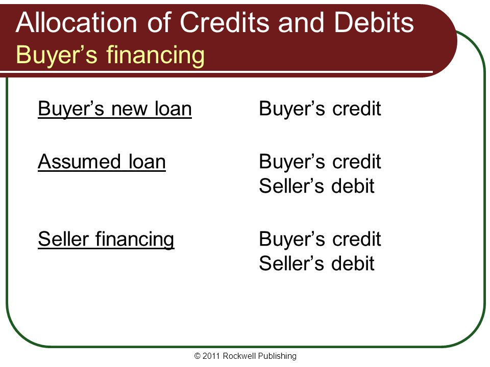 Allocation of Credits and Debits Buyer's financing