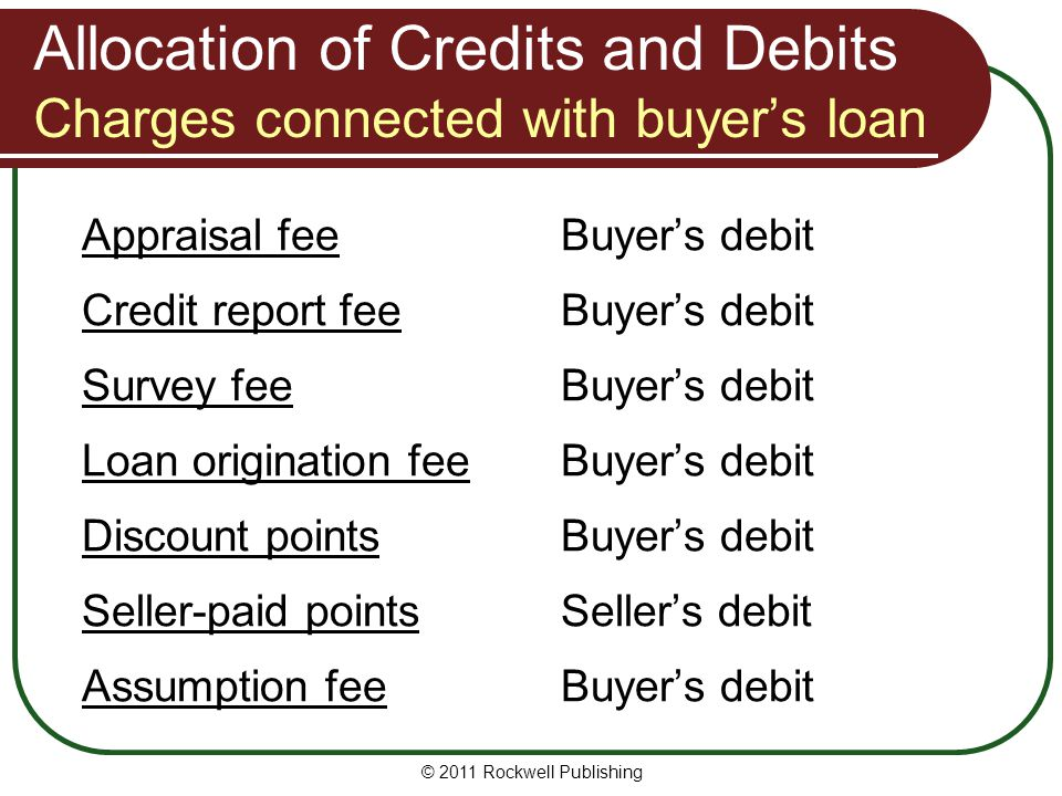 Allocation of Credits and Debits Charges connected with buyer's loan