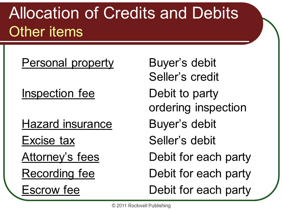 Allocation of Credits and Debits Other items