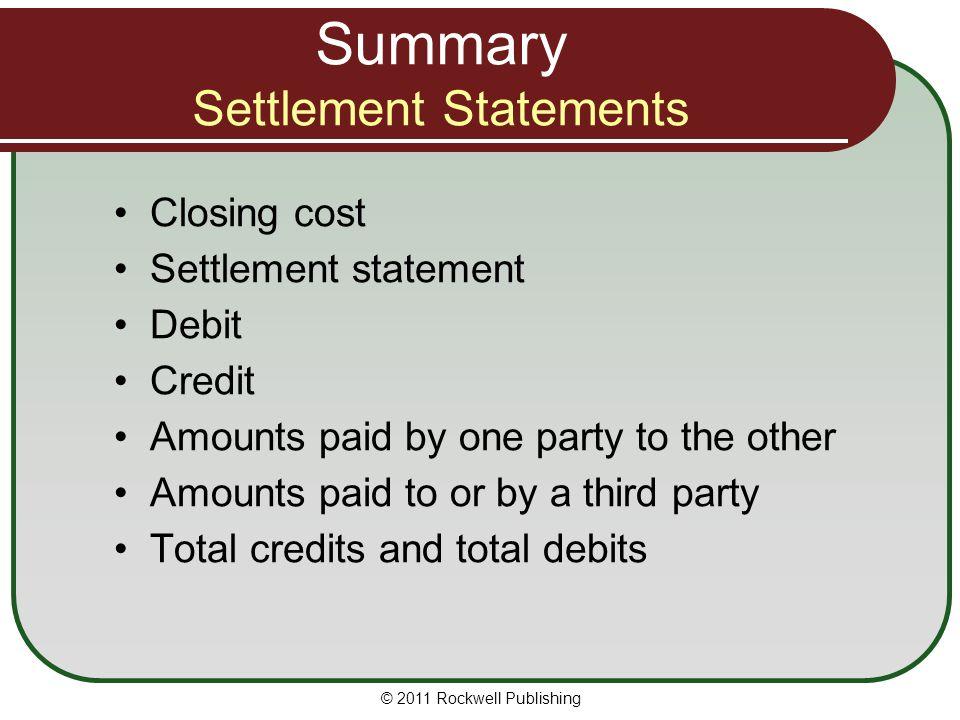 Summary Settlement Statements