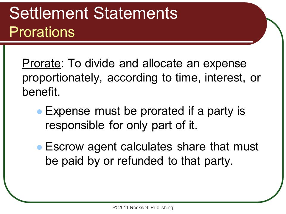 Settlement Statements Prorations