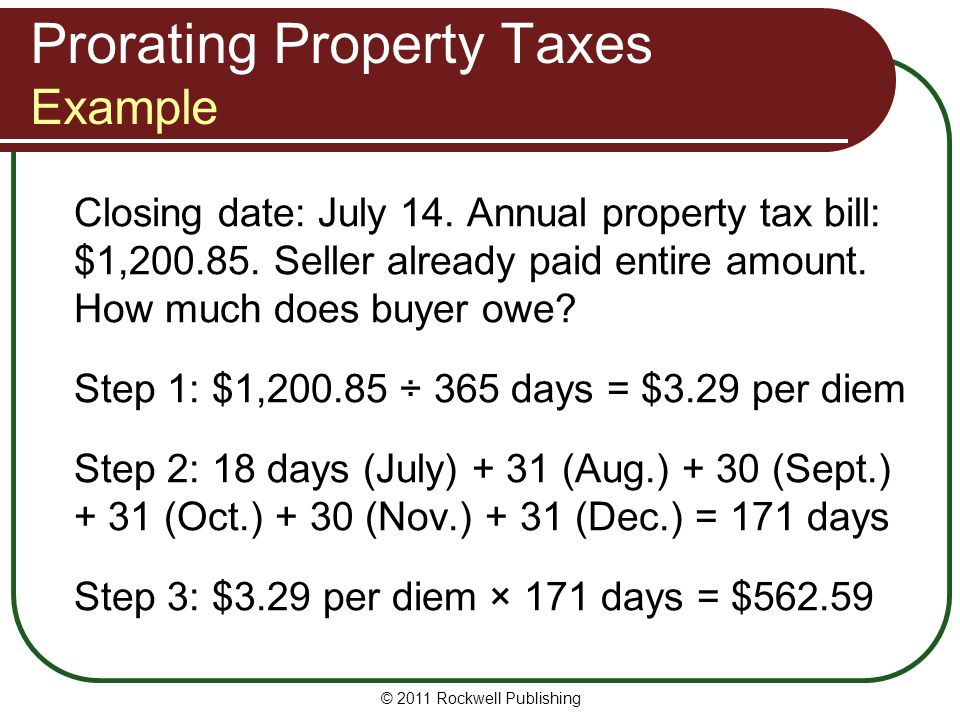 Prorating Property Taxes Example