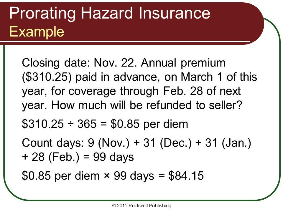 Prorating Hazard Insurance Example
