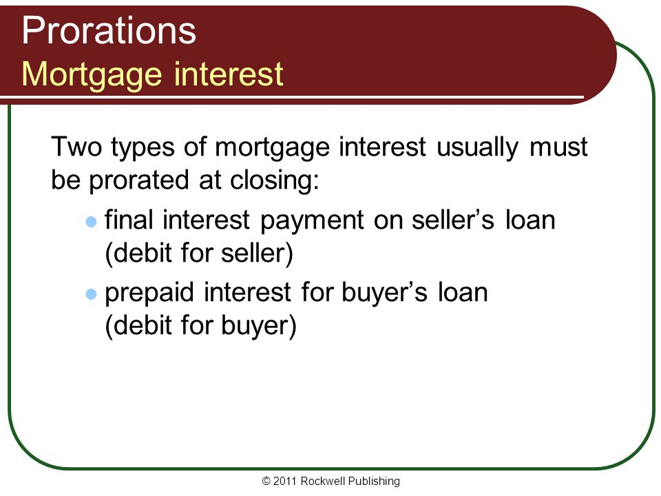 Prorations Mortgage interest