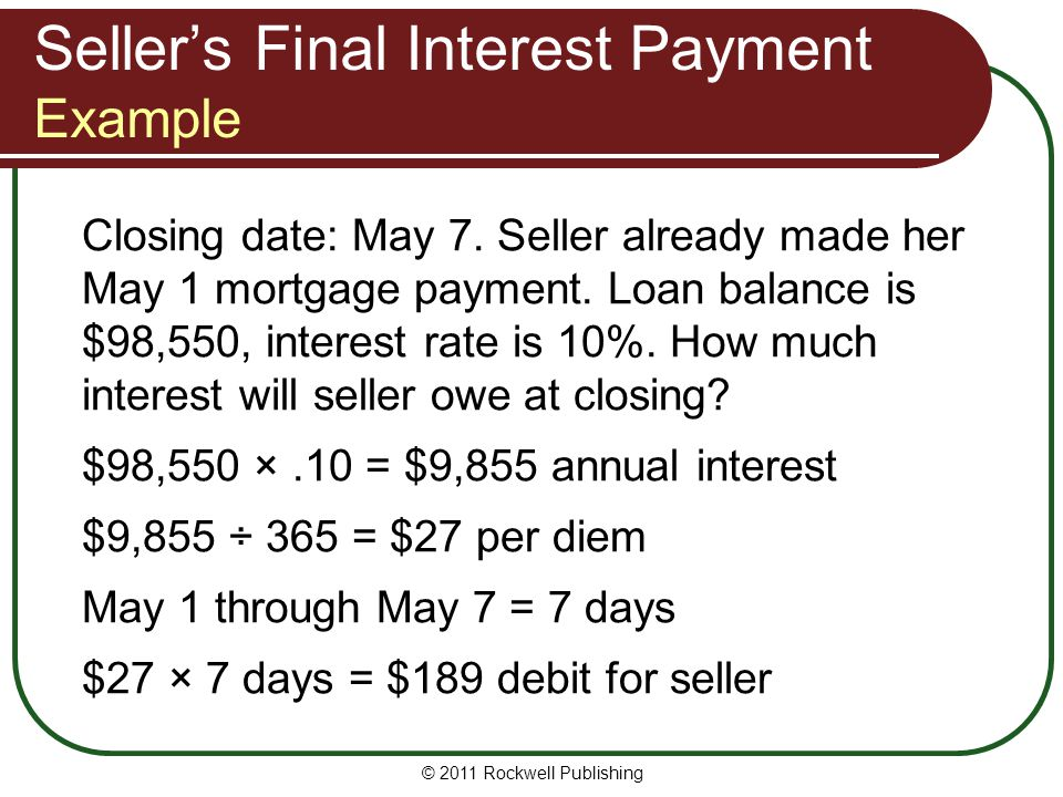 Seller's Final Interest Payment Example