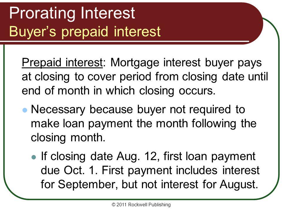 Prorating Interest Buyer's prepaid interest
