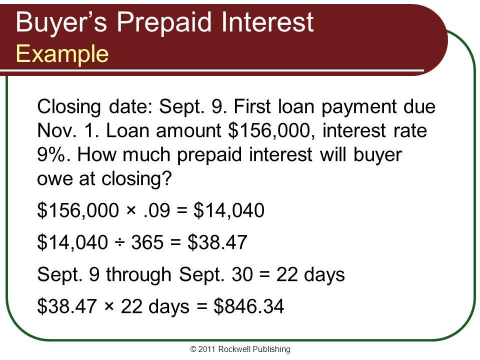Buyer's Prepaid Interest Example