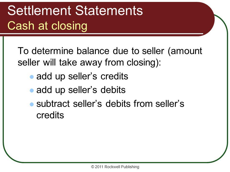 Settlement Statements Cash at closing