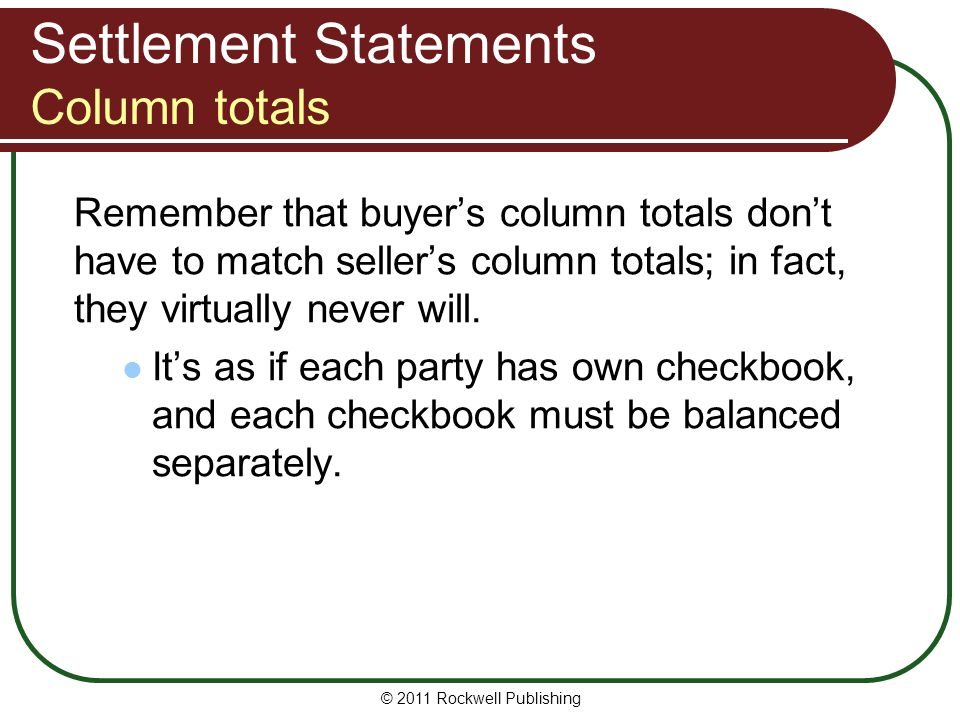 Settlement Statements Column totals