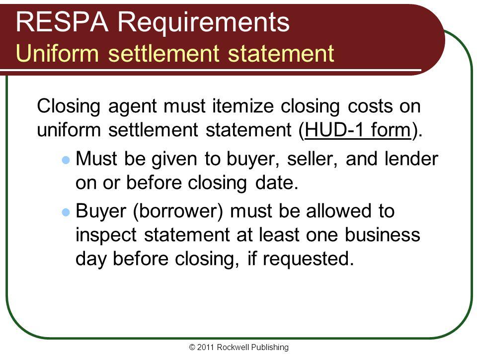 RESPA Requirements Uniform settlement statement