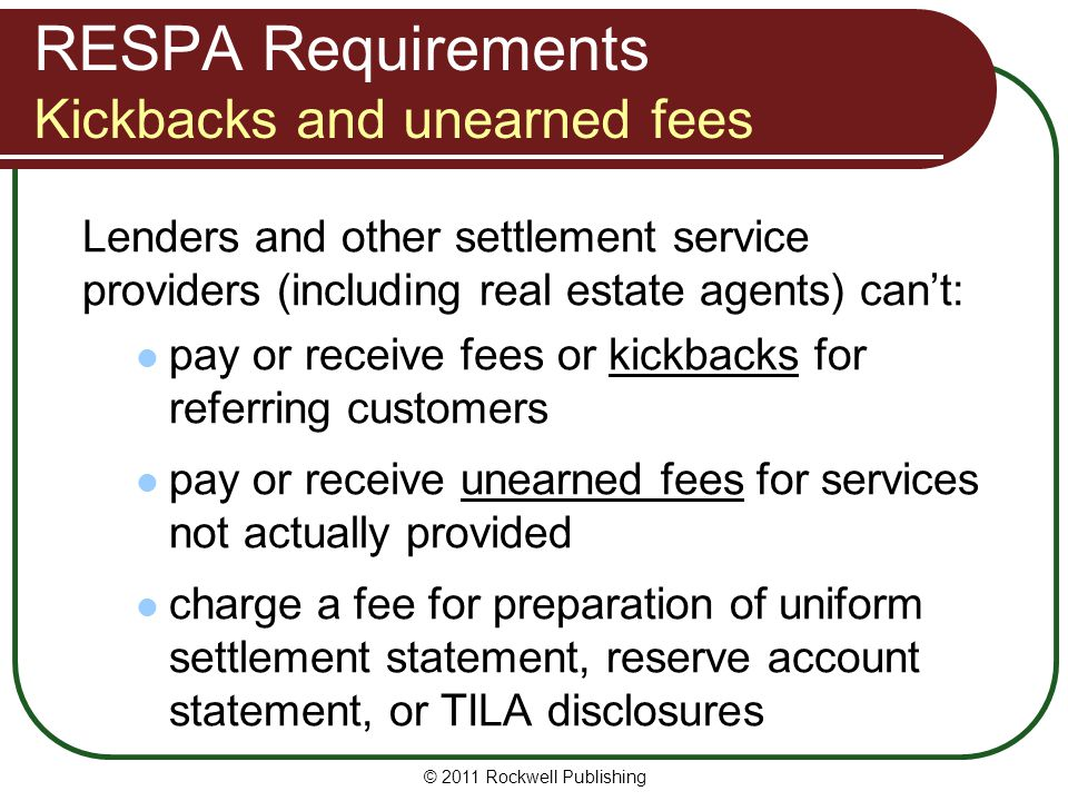 RESPA Requirements Kickbacks and unearned fees