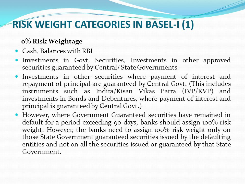 RISK WEIGHT CATEGORIES IN BASEL-I (1)