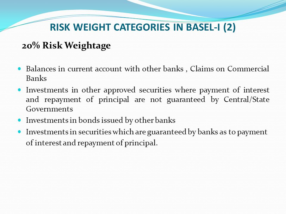 RISK WEIGHT CATEGORIES IN BASEL-I (2)