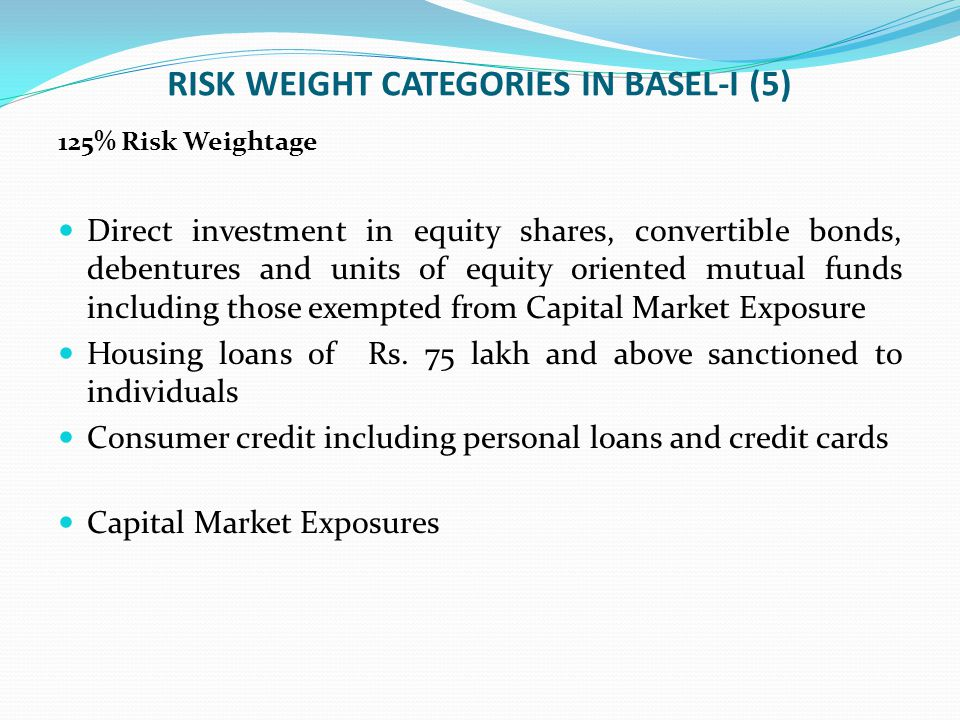 RISK WEIGHT CATEGORIES IN BASEL-I (5)
