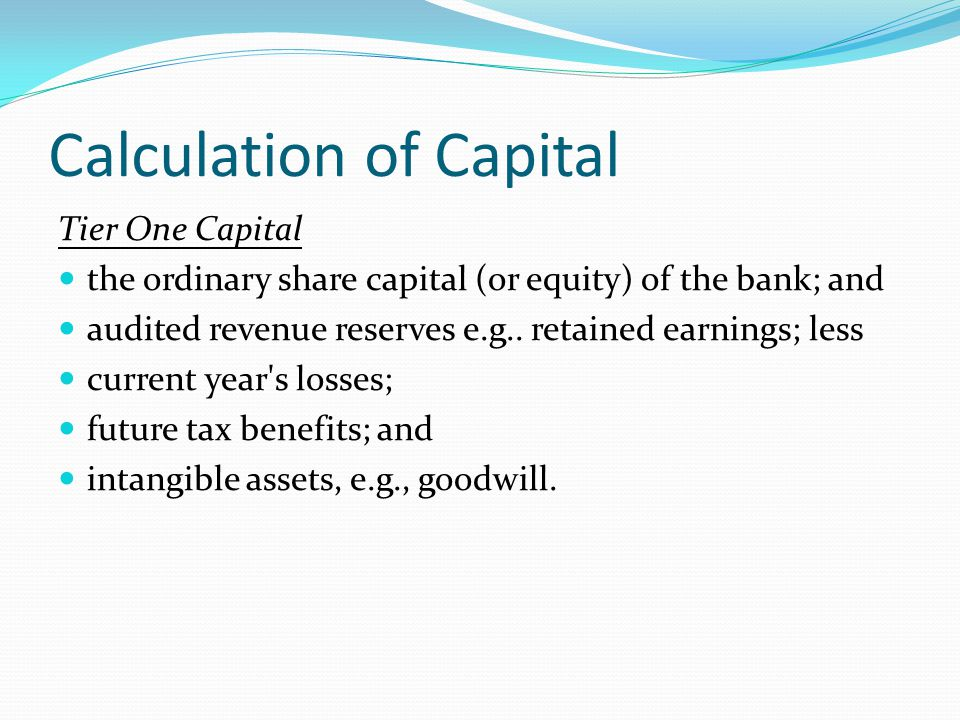 Calculation of Capital