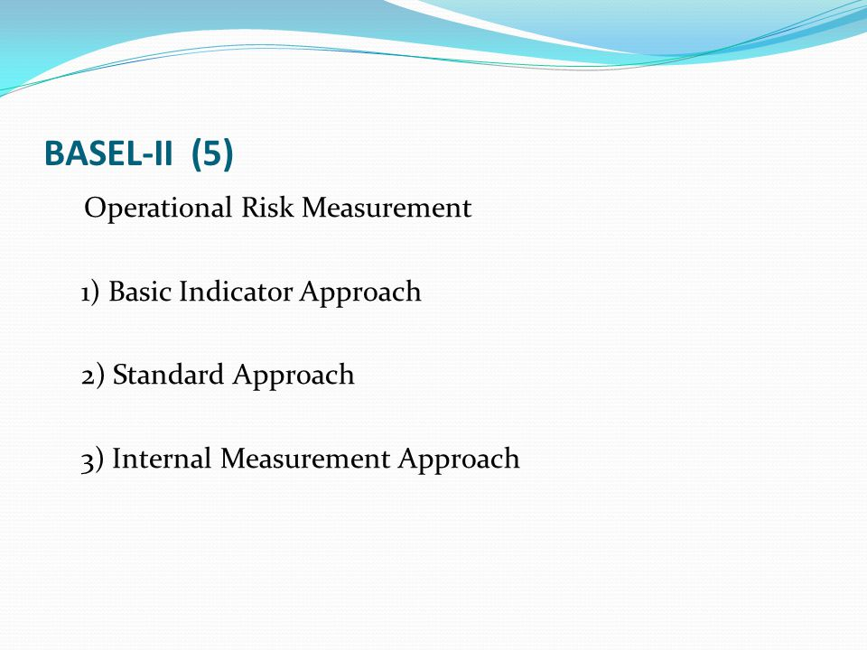 BASEL-II (5) Operational Risk Measurement 1) Basic Indicator Approach