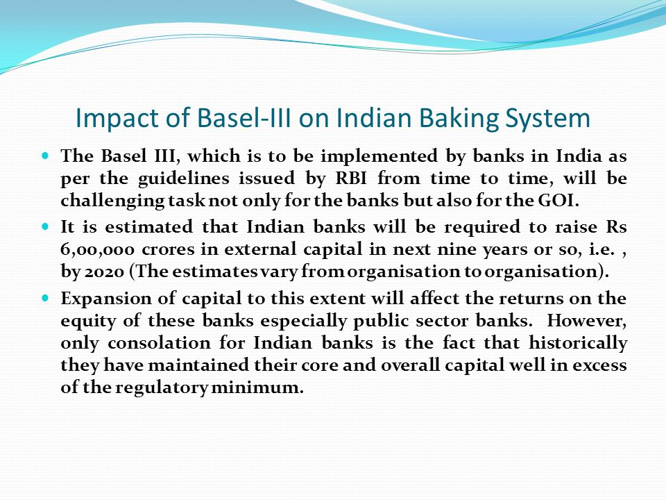 Impact of Basel-III on Indian Baking System