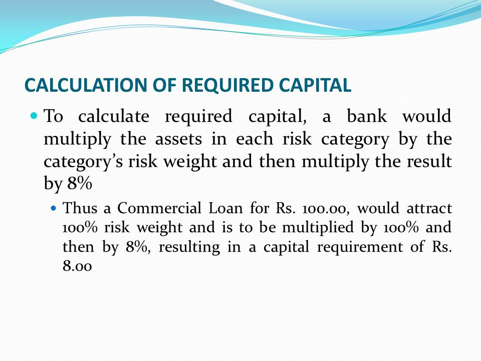 CALCULATION OF REQUIRED CAPITAL