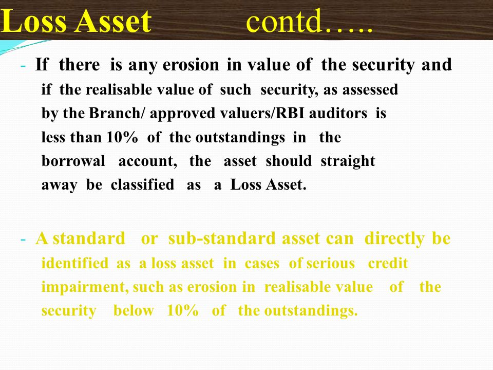 Loss Asset contd….. If there is any erosion in value of the security and. if the realisable value of such security, as assessed.