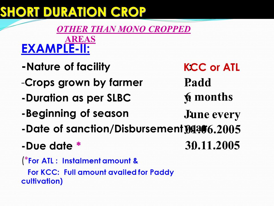 SHORT DURATION CROP EXAMPLE-II: -Nature of facility : Paddy 6 months