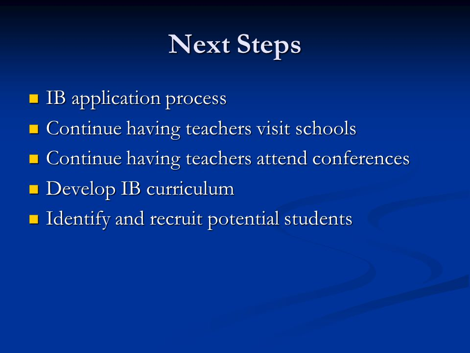 Next Steps IB application process