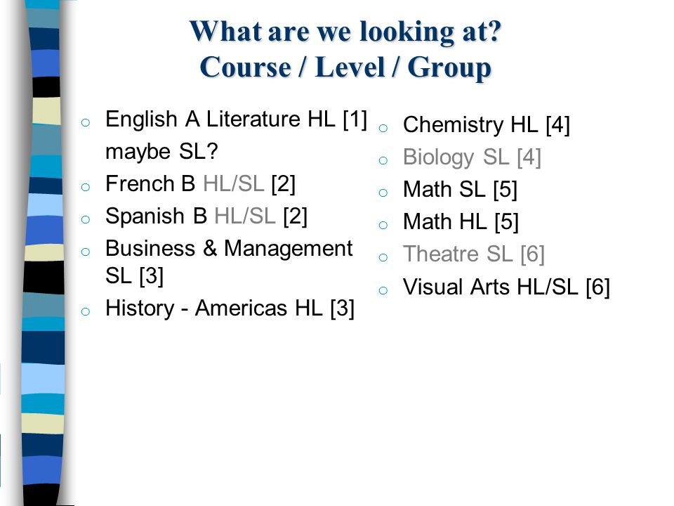 What are we looking at Course / Level / Group