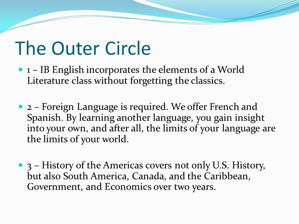 The Outer Circle 1 – IB English incorporates the elements of a World Literature class without forgetting the classics.