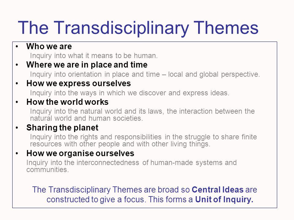 The Transdisciplinary Themes