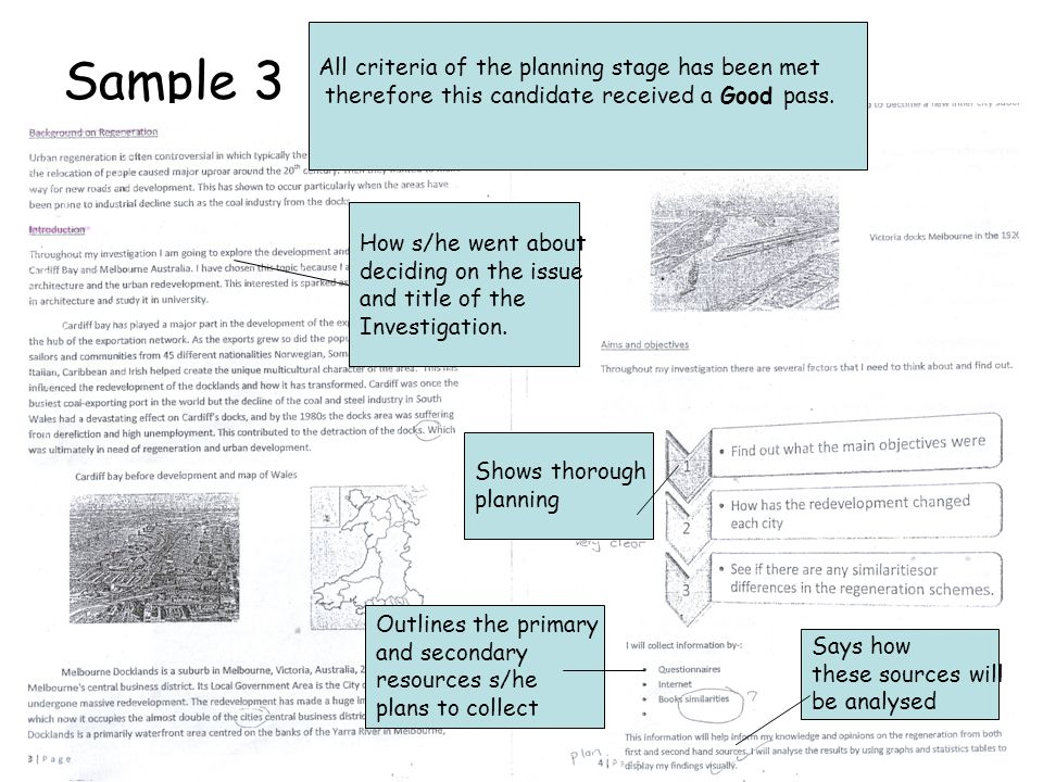 Sample 3 All criteria of the planning stage has been met