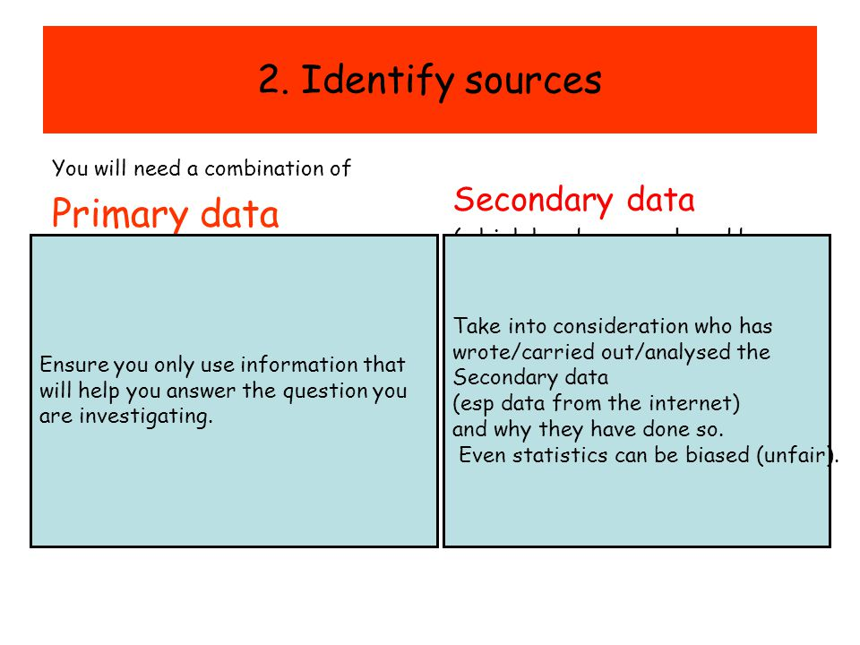 2. Identify sources Primary data Secondary data