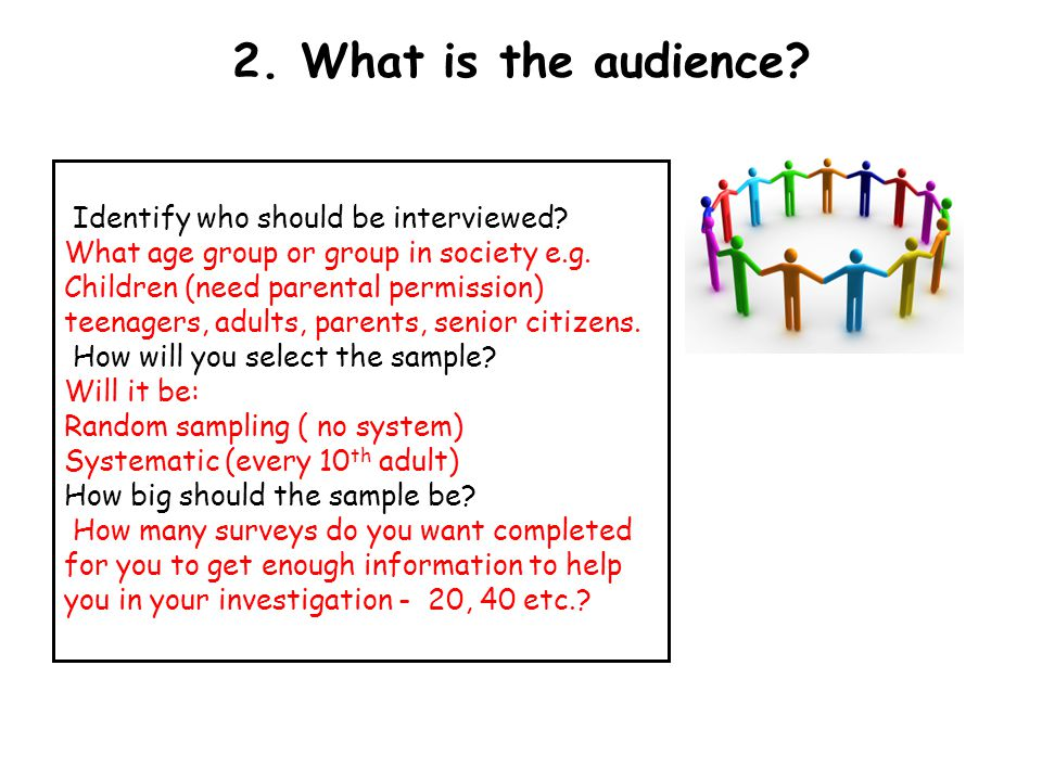 2. What is the audience Identify who should be interviewed