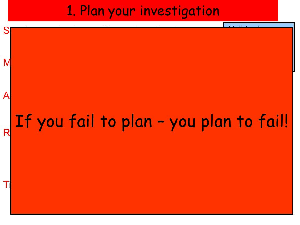 1. Plan your investigation
