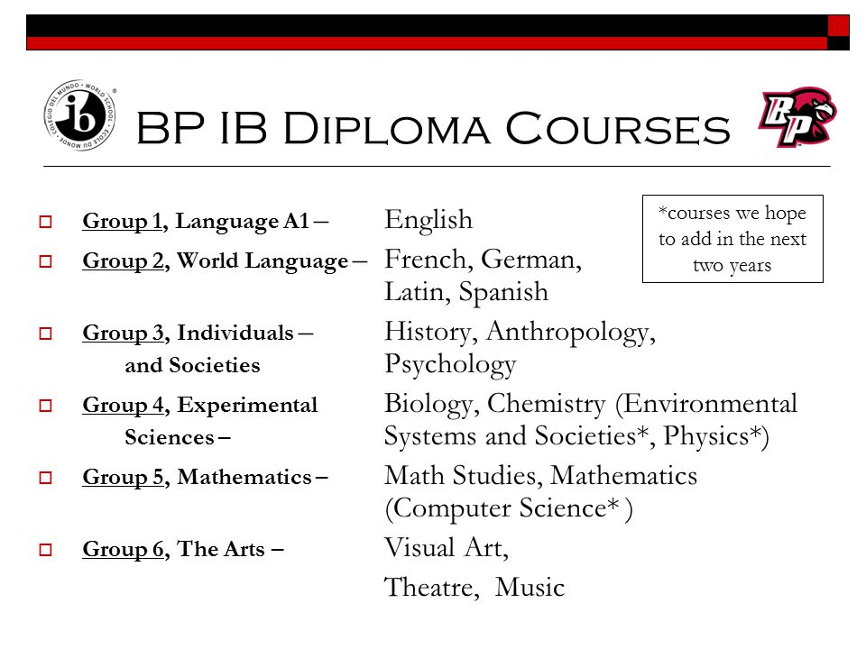 *courses we hope to add in the next two years