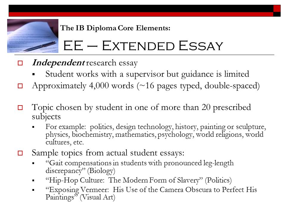 ee extended essay independent research essay - History Extended Essay Example