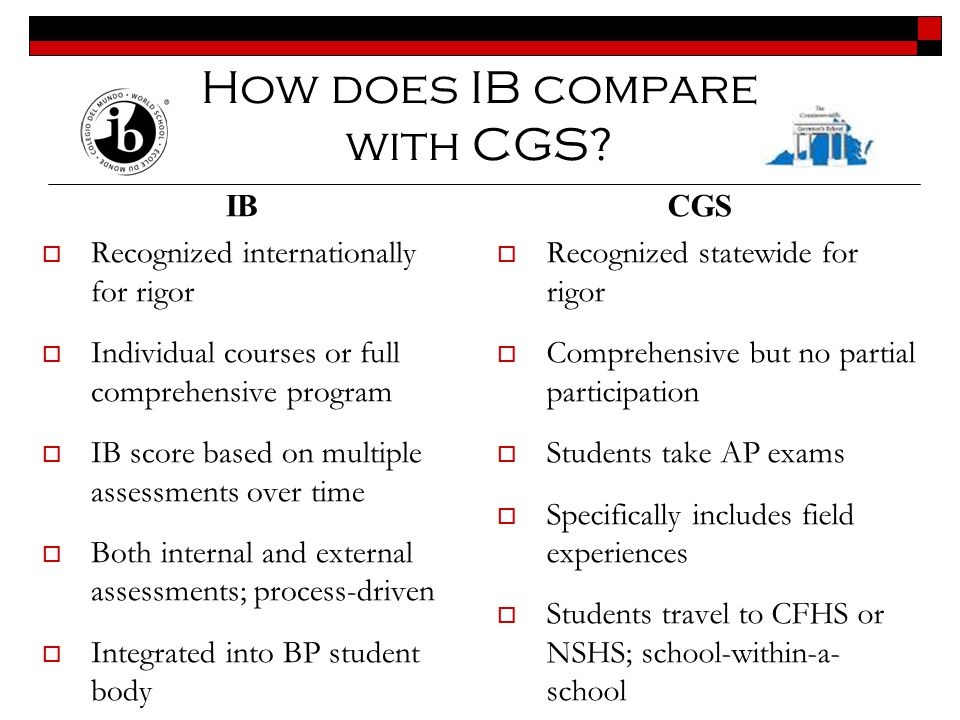 How does IB compare with CGS