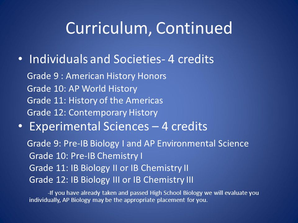 Curriculum, Continued Individuals and Societies- 4 credits