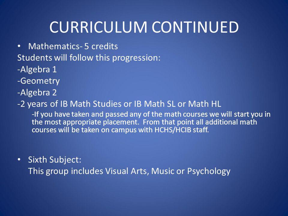 CURRICULUM CONTINUED Mathematics- 5 credits