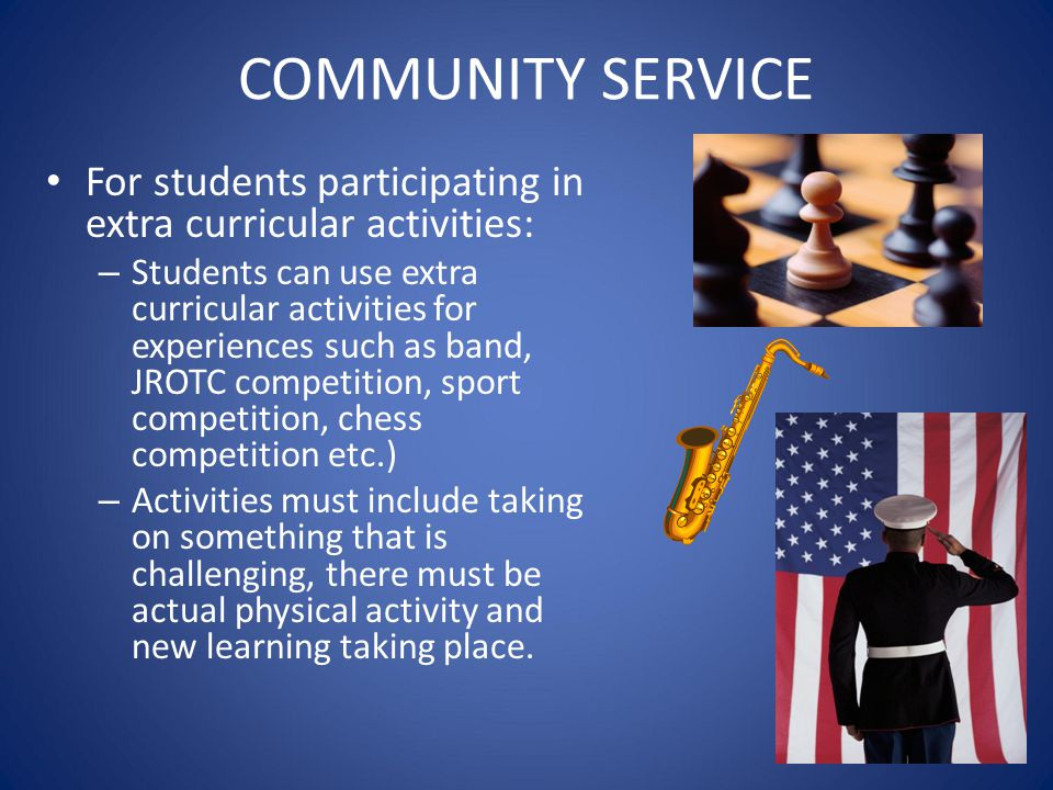 COMMUNITY SERVICE For students participating in extra curricular activities: