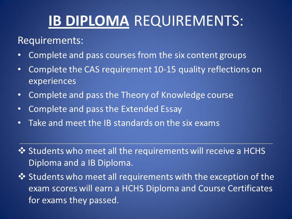 IB DIPLOMA REQUIREMENTS: