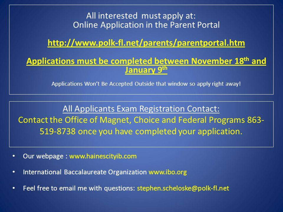 All Applicants Exam Registration Contact:
