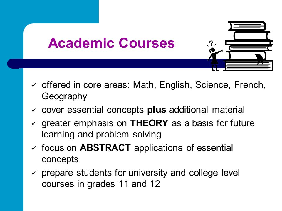 Academic Courses offered in core areas: Math, English, Science, French, Geography. cover essential concepts plus additional material.
