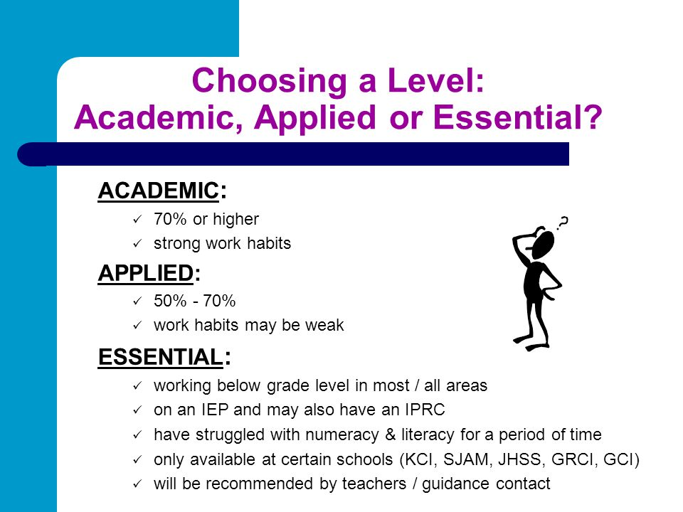 Choosing a Level: Academic, Applied or Essential