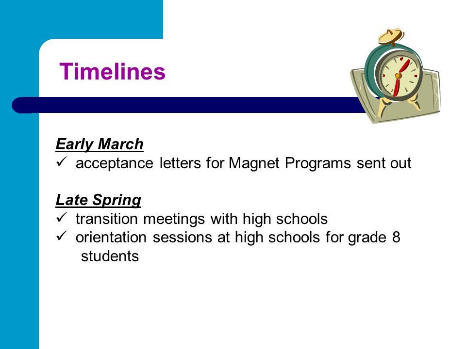 Timelines Early March acceptance letters for Magnet Programs sent out