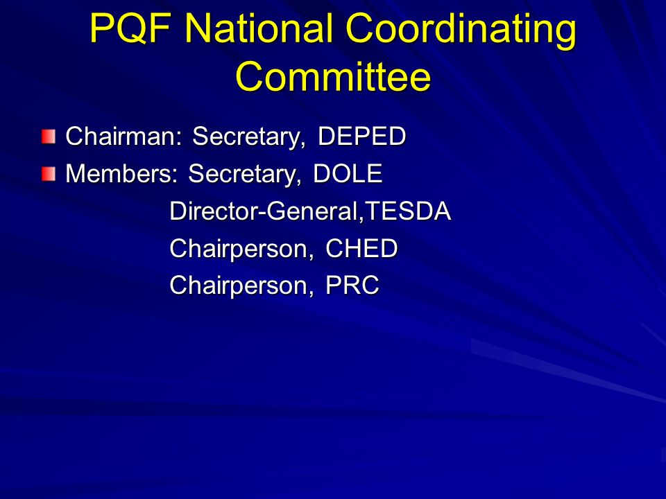 PQF National Coordinating Committee