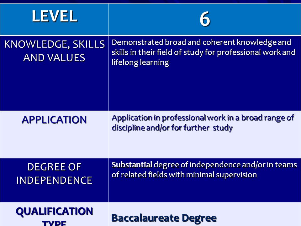 6 LEVEL KNOWLEDGE, SKILLS AND VALUES APPLICATION