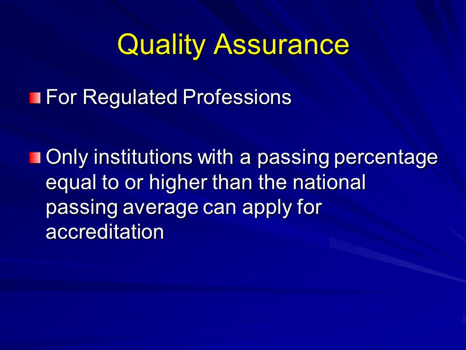 Quality Assurance For Regulated Professions