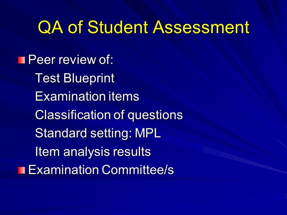 QA of Student Assessment