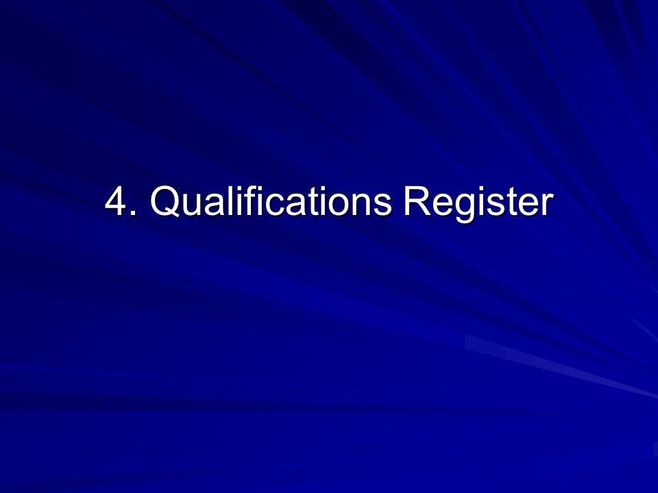 4. Qualifications Register